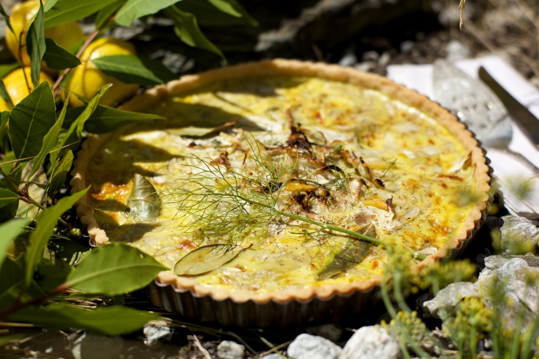 Anne Halson's  Fennel & Coconut Tart with Wanaka Organics Eggs